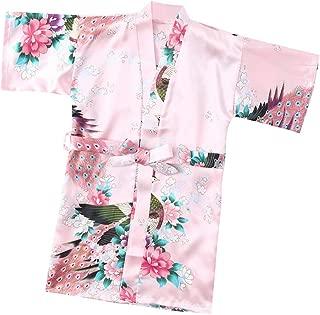 Teen Kids Toddler Baby Girls Boys Soft Floral Silk Satin Kimono Robes Pajamas Bath Cloak Hydrophil Bathrobe Clothes Red