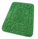 emmevi Alfombra de baño suave antideslizante absorbente moderna Moorea 6 juego de 3 piezas verde