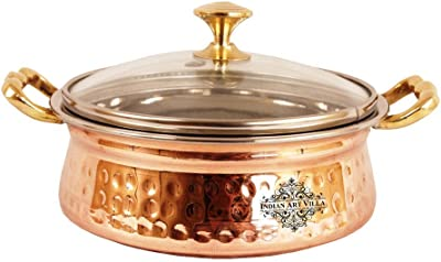 Indian Art Villa Hammered Steel Copper Casserole Donga with Glass Lid, Tableware, 500 ML