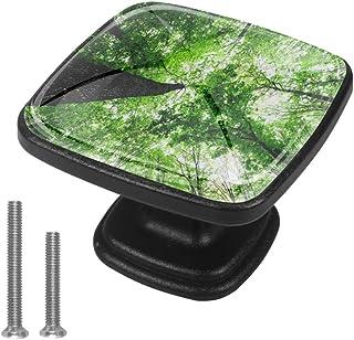 Green Forest Trees - Juego de 4 pomos para cajón para armarios armarios estanterías