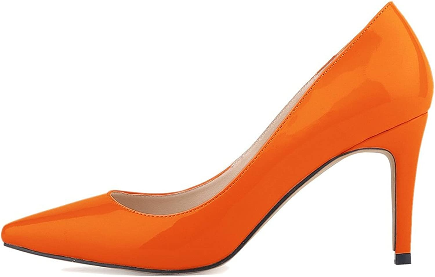 Oppicong Womens shoes Closed Toe High Heels Women's Pointed Slender Leather Pumps orange,8cm heels5 B(M) US