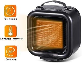 NBMN Calefactor Cerámico, Mini Calentador Eléctrico 45° Pequeño Oficina Hogar Escritorio Calentador Rápido Calentamientofunción Silence, Potencia Regulable 650W/1000W