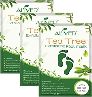 Foot Peel Mask 3 Pack, Tea Tree Foot Mask Peeling Off Calluses Dead Skin Repair Rough Heels, Baby Soft Smooth Touch Feet-Men Women