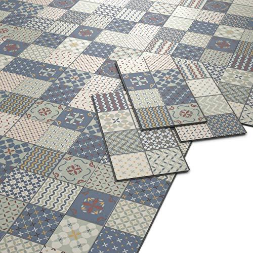 ARTENS - PVC Bodenbelag - Click Vinylboden- Zementfliesen Muster - Blau/Grün/Creme - 1,49m²/8 Fliesen