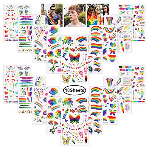 Moguer 18 Pack Pride Rainbow Sticker Temporary Tattoo Body Paint for Gay Pride Parade Carnival Party Decoration (9 Models)