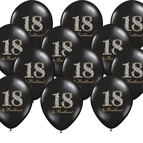 12 palloncini 18. Compleanno, nero brillante, decorazione per feste – Kleenes Traumhandel