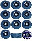 10inox Disco de láminas (125mm de diámetro x 22,23mm, grano 40–Lija schleifmoppteller Acero, Color Azul