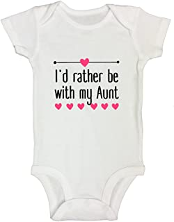 """Funny Threadz Kids Funny Auntie Onesie """"I'd Rather Be with My Aunt"""" Sister Gift"""