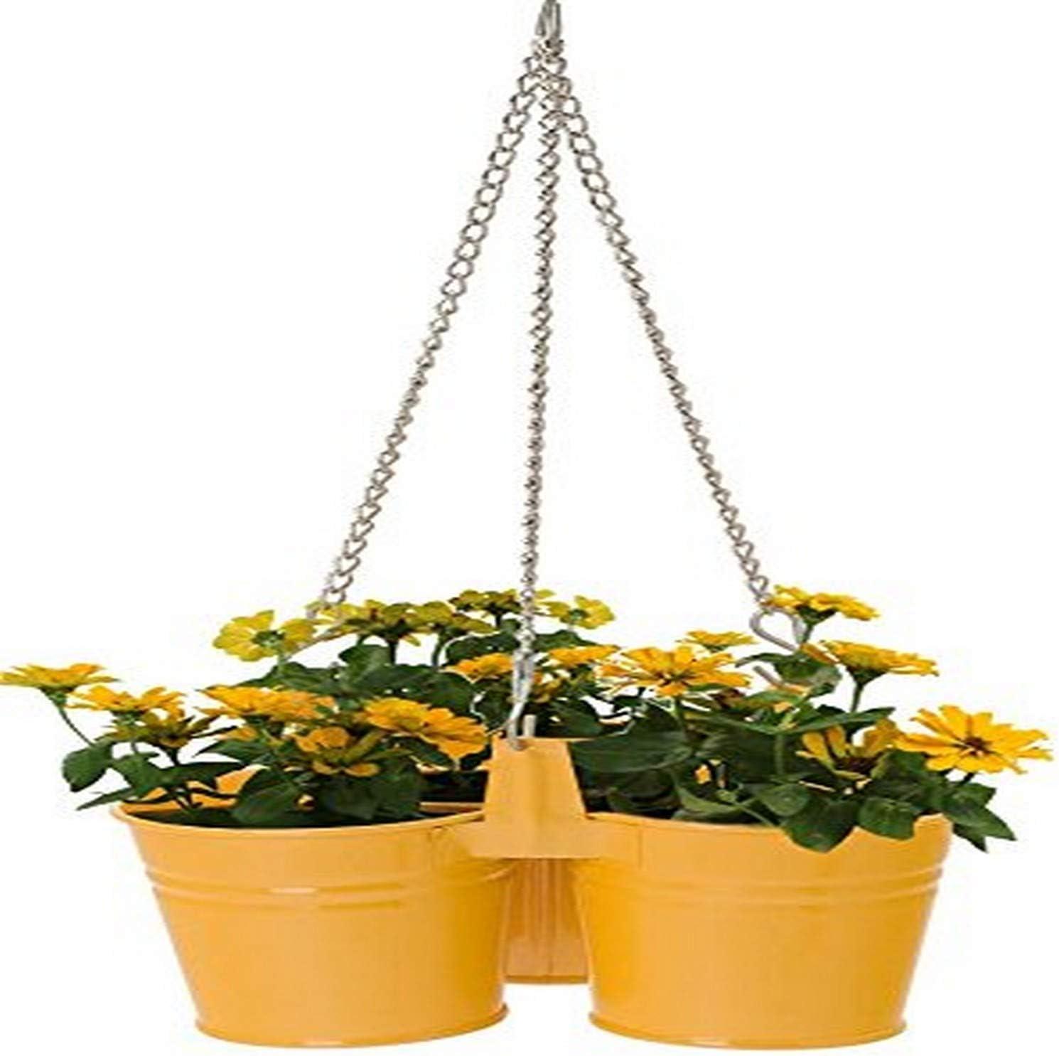 HiT 8117E SAFF Cheap Max 40% OFF bargain Metal Triple Hanging Planter Saffron