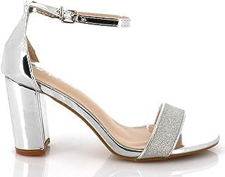 74b32a880983bc Sandales Femme en Similicuir Verni Et Strass Brillant - Chaussure d'Eté  Talon Bloc Haut