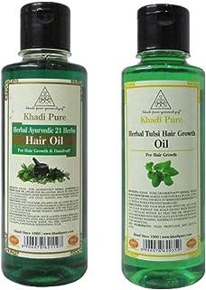 Khadi Pure 21 Herbs & Tulsi Hair Growth Hair Oil, 210 ml (Pack of 2)