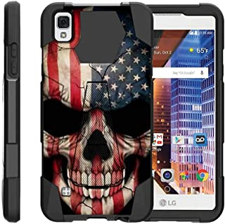 TurtleArmor | Compatible with LG Tribute HD Case | LG Volt 3 | LG X Style [Dynamic Shell] Hybrid Dual Layer Hard Shell Kickstand Silicone Case - US Flag Skull