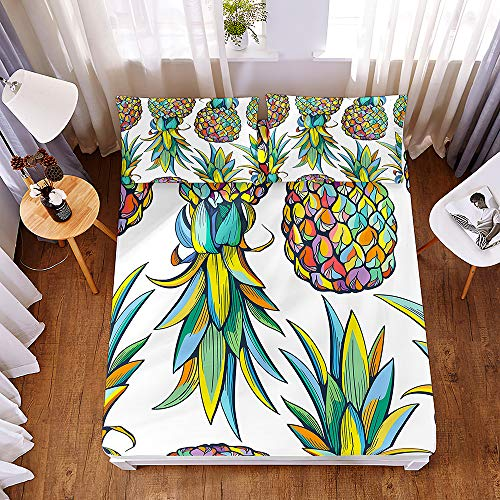 Bedding Fitted Sheets with 2 Pillowcases, Morbuy Colorful Pineapple 3D Printed Bedding Microfiber Soft Fade Resistant Bed Sheets for Single Double King Size Bedsheet Deep 30cm (160 * 200 * 30cm,B)