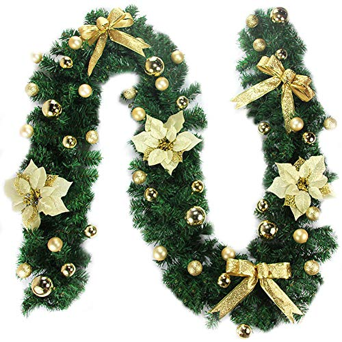 Hpory Christmas Garland with Lighting Fir Garland Fairy Lights Christmas Decoration 2.7 Metres Window Simulation Christmas Flower Vine for Indoor and Outdoor Use