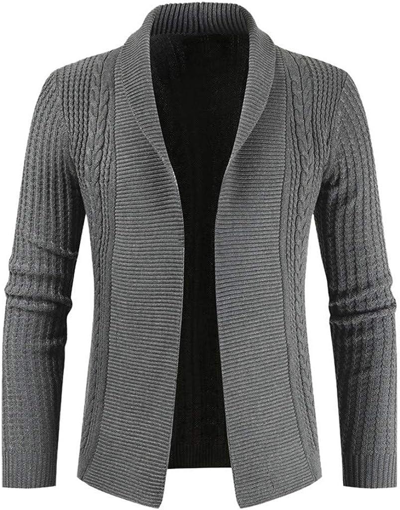 MODOQO Men's Cardigan Sweater Slim Fit Open Front Casual Knitwear Jacket