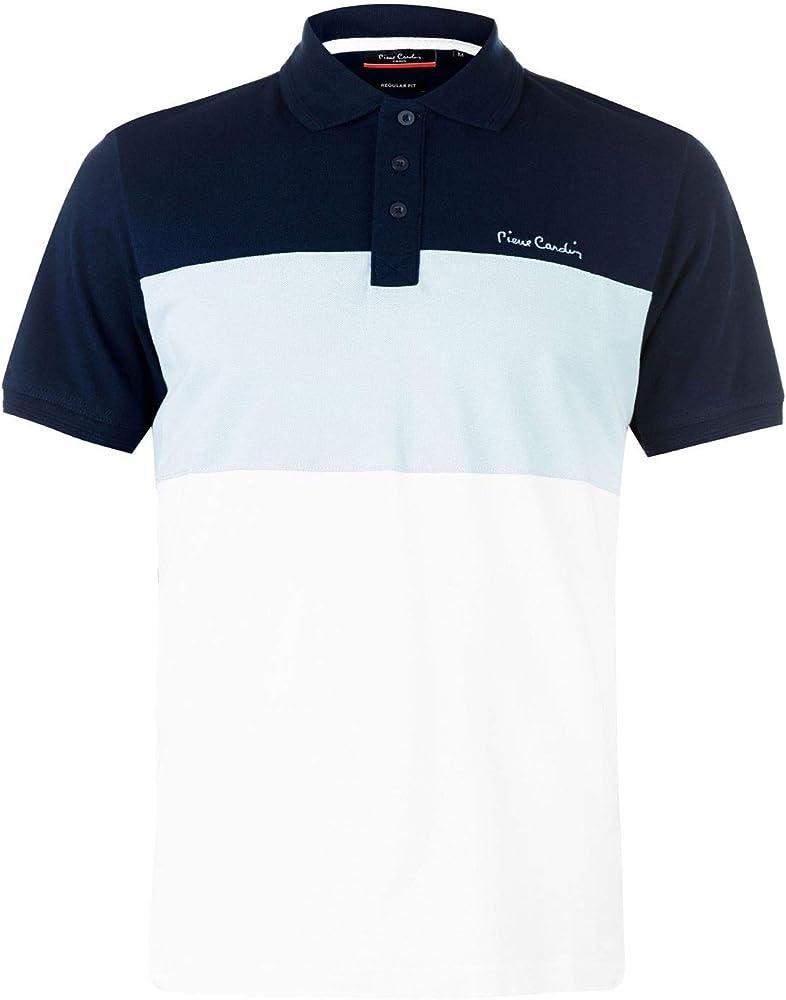 Pierre cardin, t-shirt maniche corte, maglietta da uomo 100% cotone, blu marino/azzurro