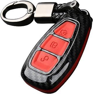 Happyit ABS Fibra de Carbono Shell + Silicona Llave del Coche Cubrir Caso Llavero para Ford Focus Mondeo Edge Fiesta Kuga Mondeo MK4 Fusion Escort Ecosport (B Fibra de Carbono + Rojo)