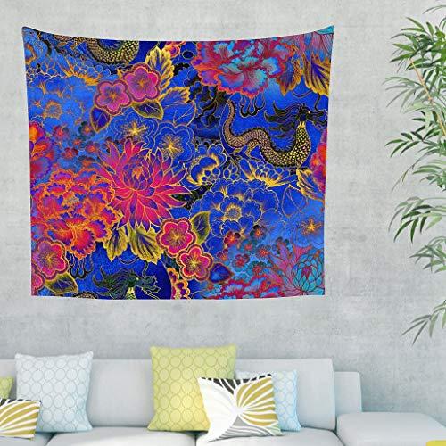 Kleurrijke etnische stammen draak Chinese bloemen kunstwerk wandbehang tapijt hippie Gobelin retro wandtapijt bankovertrek woonkamer 100x150cm wit