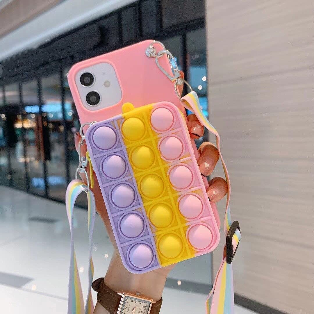ISYSUII Cute Case for Samsung Galaxy A71 5G Rainbow Bubble Silicone Protective Phone Case for Teens Girls Soft Silicone Shockproof Cover with Card Holder Crossbody Adjustable Strap,Colorful