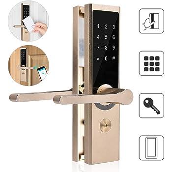 WiFi Remoto Inteligente Cerradura electrónica de la Puerta, Kit de Sistema de Cerradura de la Puerta de Cobre Puro, Bloqueo Inteligente de cifrado A4 BT con Bluetooth 4.0 sin Llave, Contraseñas