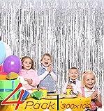 BangShou 4 Pack Cortinas de Malla Metálica 1m x 3m Cortina de lámina Franjas Decoración Fondopara Fiesta de Cumpleaños para Ventanas Puertas Paredes (Plata)