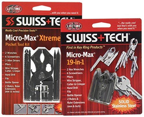 Swiss + Tech Tool Kit en acier inoxydable et micro Outil multi-usage pour le camping, ST99005M2