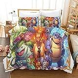 ZXYLSL Housse de Couette 140x200cm Anime, pokémon Polyester Literie avec dissimulée Fermeture glissière Taie d'oreiller Parure de lit et Taies d'oreiller