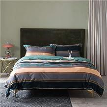 Personality Simple Cotton Gray Green Orange Stitching Cotton Denim Quilt Bed Linen Bedding Minimalist Style Hotel Gift Set...