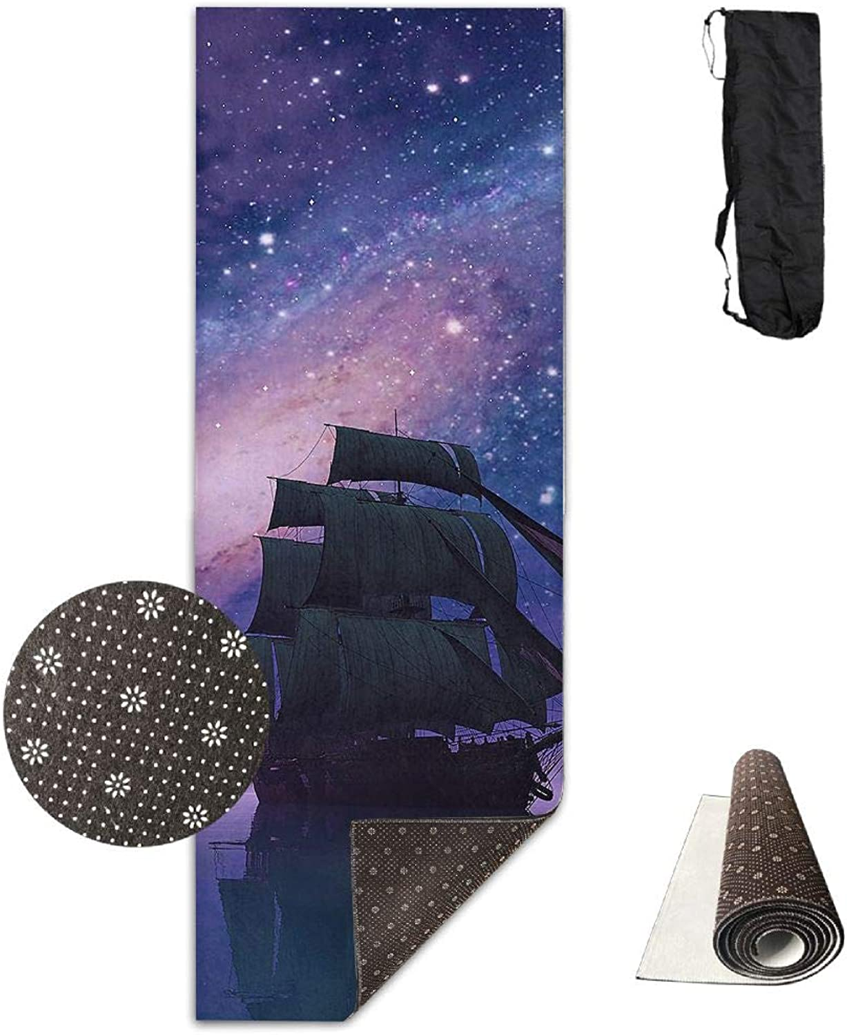 Yoga Mat Non Slip 24  X 71  Exercise Mats Space Galaxy colorful Magnificent Premium Fitness Pilates Carrying Strap