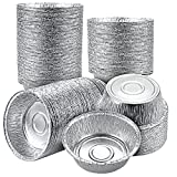 Oomcu 100 Pack Disposable Aluminum Foil Pie Tart Pan, 5' Round Cake Pan Foil Tart & Pie Tins Pans for Baking Personal Mini Pies, Homemade Cakes & Quiche