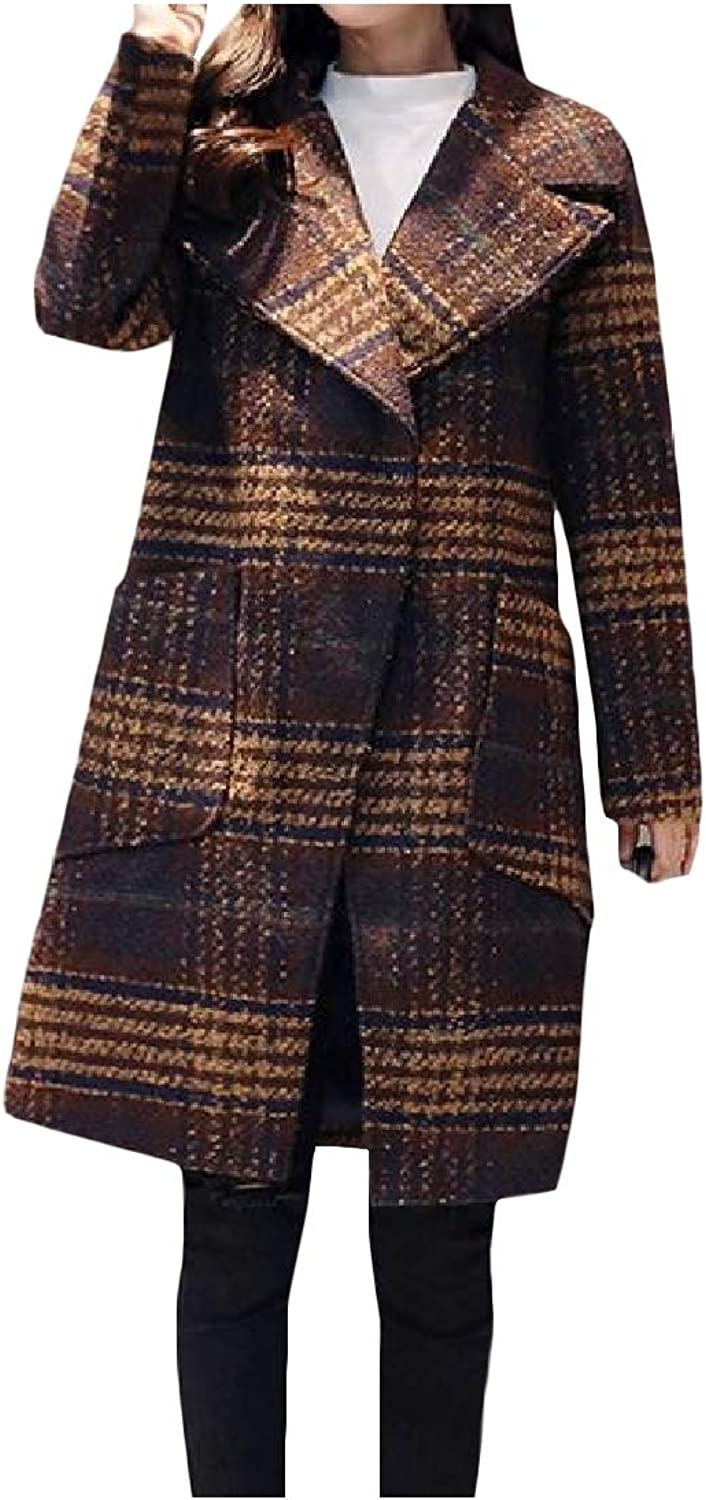 Vska Womens Plaid Pattern Fall & Winter Lapel Wool Blend Overcoat Trench Coat