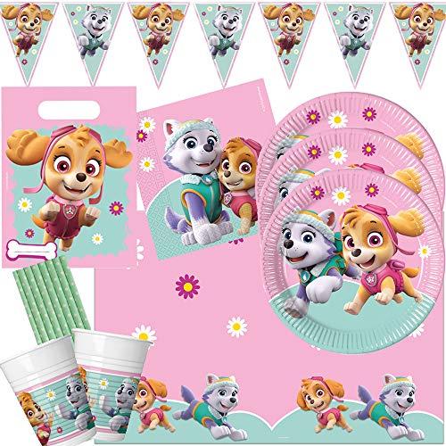 Procos/Hobbyfun Juego de 54 piezas para fiesta de la Patrulla Canina, Skye Everest, platos, vasos, servilletas, mantel, bolsas de fiesta, banderines, pajitas para 8 niños
