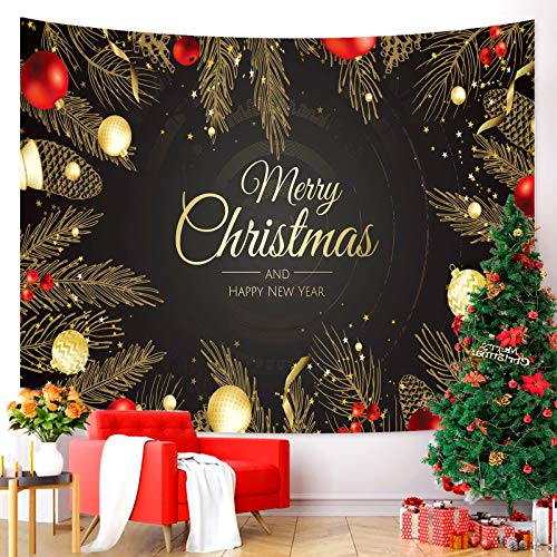 Tarnel Christmas Tapestry Wall Hanging Xmas Wall Tapestry for Party Livingroom Bedroom Dorm Home Decor W78.7 x L59.1. (Black)