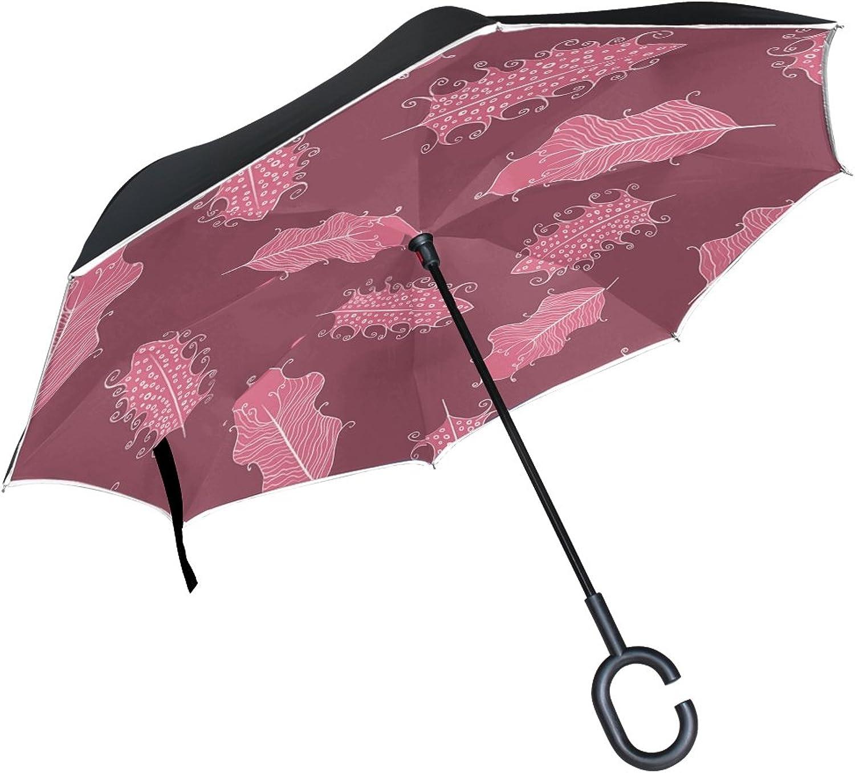 Double Layer Ingreened Plumelet Pen Ethnic Elegant Hippie Elegance Umbrellas Reverse Folding Umbrella Windproof Uv Predection Big Straight Umbrella for Car Rain Outdoor with CShaped Handle