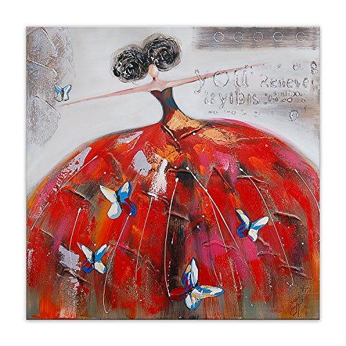 Arte Dal Mondo Frau mit Schmetterlingen figurativ acryl Moderne gemälde auf leinwand Druck von Hand dekoriert Wandverzierung, Multicolor, 100x100x3.5 cm