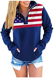 VBNG Women's Casual American Flag Patriotic USA Pullover Hoodie Sweater