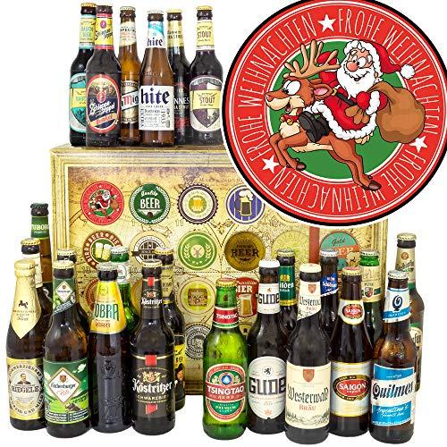 Santa/Bier Set Welt und DE/Geschenkeset Weihnachten für Opa/Weihnachtskalender für Ihn Bier