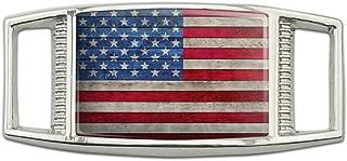 Rustic American Flag Wood Grain Design Rectangular Shoe Shoelace Shoe Lace Tag Runner Gym Charm Decoration