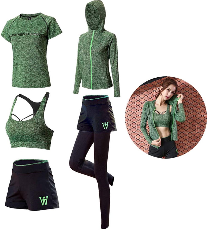 Women's Yoga Fitness Bra + Sports Jacket + Pants + Sports Short Sleeve + Sports Shorts Set, Gym Workout Sportswear Running Wear, 3 colors