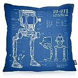 VOID AT-ST Cianotipo Cojín con Dibujo Funda de cojín Funda para Outdoor Indoor Fotocalco Azul Andador, Kissen Größe:80 x 80 cm