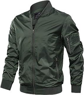 TACVASEN Men`s Jacket-Lightweight Casual Spring Fall Flight Bomber Zip Pockets Coat Outwear