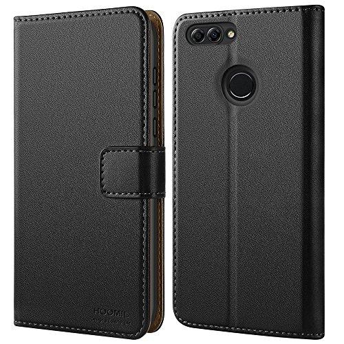 HOOMIL Handyhülle für Huawei P Smart Hülle, Premium PU Leder Flip Schutzhülle für Huawei P Smart Tasche, Schwarz