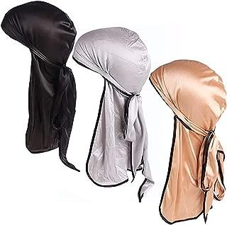 Satin Silk Head Wrap Durag Long Tail Beanies for Men Women Headwraps Cap