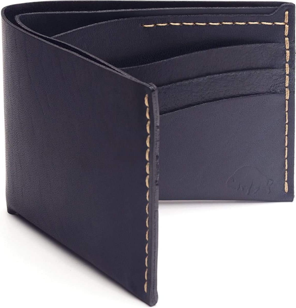 Ezra Arthur No. 8 Navy Modern Leather Bifold Wallet