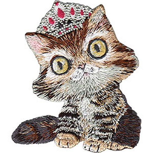 """ANIMAL CLUB KITTY WITH TIARA PATCH - Animal Figure KITTY With TIARA Embroidered Artwork Iron/Sew-On PATCH - 3"""" x 3.5"""""""