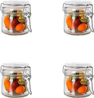 Annfly Lot de 4 bocaux hermétiques en verre avec couvercle à clip Transparent 100 ml