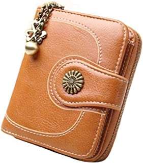 Pelle Portafoglio Donna Piccolo Bifold Zipper raccoglitore della tasca della cassa di carta della frizione della borsa del...