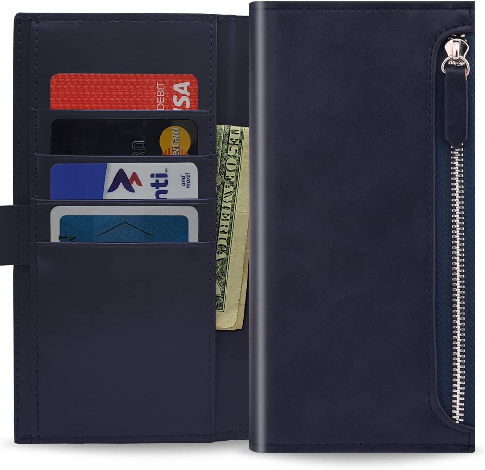 Qoosan iPhone XR Zipper Wallet Case, Leather Flip Cover with Card Holder, Dark Navy