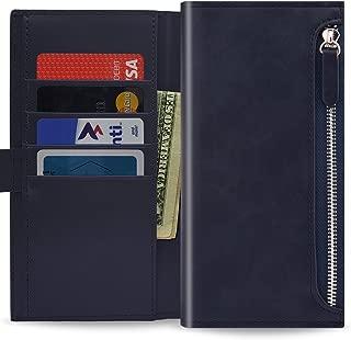 Qoosan LG V20 Zipper Wallet Case, Leather Flip Cover with Card Holder, Dark Navy