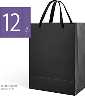 MALICPLUS 12 Large Gift Bags 10x5x13 Inches, Premium Paper Bags with Cotton Handles for Special Occasions (Matte Black Embossing)